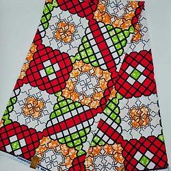 Coupon de tissu - Wax - Graphiques - Rouge / Vert / Blanc