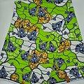 Coupon de tissu - Wax - Fleurs - Vert / Bleu / Blanc