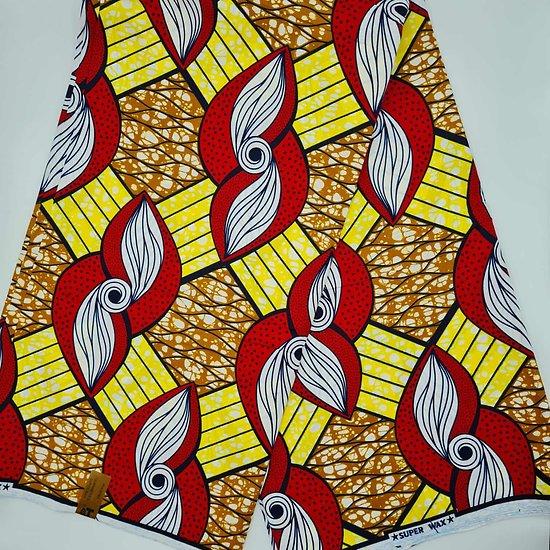 Coupon de tissu - Wax - Graphiques - Rouge / Jaune / Ocre