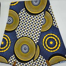 Coupon de tissu - Wax - Ronds - Bleu / Jaune / Blanc