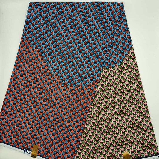 Coupon de tissu - Wax - Paon - Vert / Bleu / Orange