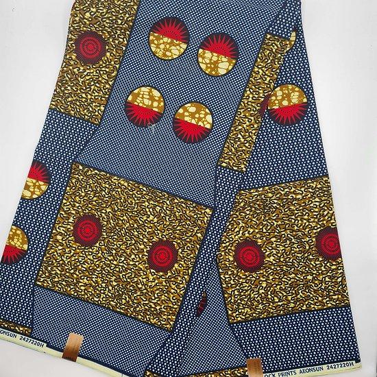 Coupon de tissu - Wax - Graphiques - Bleu / Rouge / Ocre
