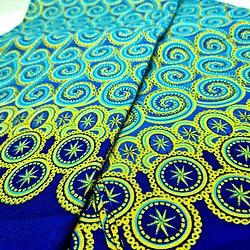 Coupon de tissu - Wax - Spirales - Pailleté - Bleu