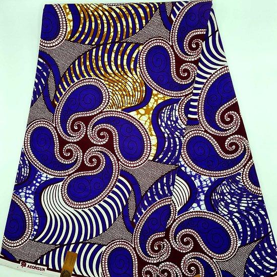 Pagne - Wax - Graphiques - Bleu / Ocre / Bordeaux