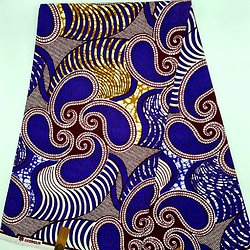 Coupon de tissu - Wax - Graphiques - Bleu / Ocre / Bordeaux