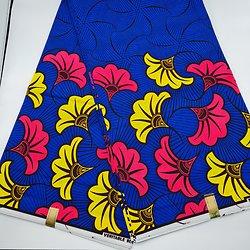 Coupon de tissu - Wax - Fleurs de mariage - Rose / Jaune / Bleu