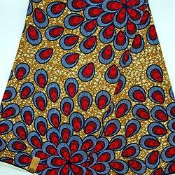 Coupon de tissu - Wax - Aurélie - Bleu / Rouge / Brun