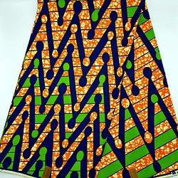 Coupon de tissu - Wax - Graphiques - Bleu / Vert / Orange