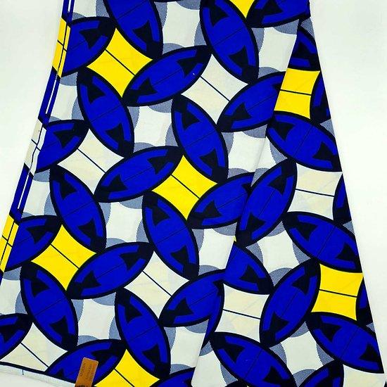 Pagne - Wax - Graphiques - Bleu / Jaune / Blanc