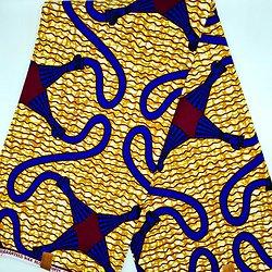 Coupon de tissu - Wax - Graphiques - Jaune / Bleu / Bordeaux