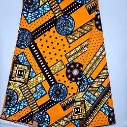 Coupon de tissu - Wax - Graphiques - Orange / Bordeaux / Bleu