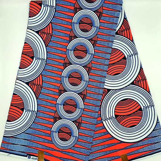Coupon de tissu - Wax - Graphiques - Rose / Bleu / Blanc