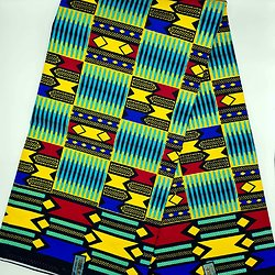 Coupon de tissu - Wax - Graphiques - Pailleté - Jaune / Rouge / Bleu