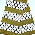Coupon de tissu - Wax - Graphiques - Pailleté - Jaune / Blanc / Noir