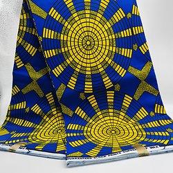 Coupon de tissu - Wax - Soleil - Jaune / Bleu