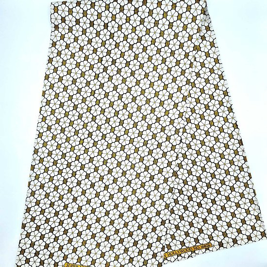 Coupon de tissu (1.50m) - Wax - Graphiques - Pailleté - Blanc / Jaune / Noir