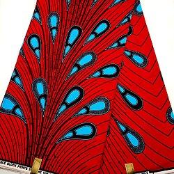 Coupon de tissu - Wax - Caroline S - Rouge / Bleu / Marron foncé