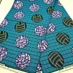 Pagne - Wax - Ballons - Bleu / Vert / Violet