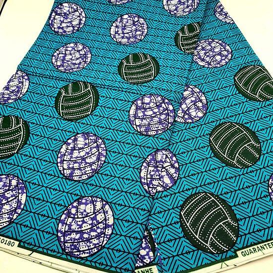 Coupon de tissu - Wax - Ballons - Bleu / Vert / Violet
