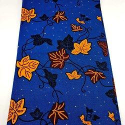 Coupon de tissu - Wax - Feuilles - Bleu / Jaune / Marron