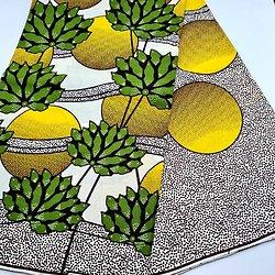 Coupon de tissu - Wax - Citrons - Jaune / Vert / Blanc