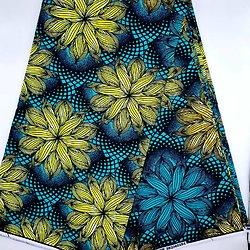 Pagne - Wax - Fleurs - Jaune / Turquoise / Noir