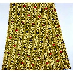 Coupon de tissu - Wax - Oeïl de ma rivale - Jaune / Rouge / Bleu