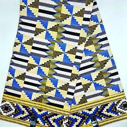 Coupon de tissu - Wax - Kenté - Pailleté - Jaune / Bleu / Blanc