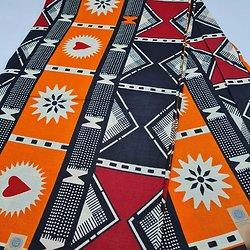 Coupon de tissu - Wax - Graphiques - Orange / Noir / Rouge