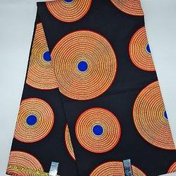 Coupon de tissu - Wax - Ronds - Pailleté - Noir / Orange / Bleu