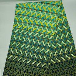 Coupon de tissu - Wax - Graphiques - Pailleté - Vert / Jaune / Bleu