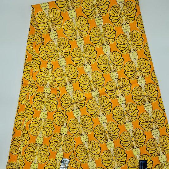 Coupon de tissu - Wax - Papillons - Pailleté - Jaune / Orange / Noir