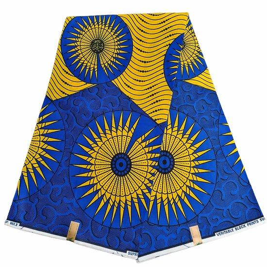 Coupon de tissu - Wax - Soleil - Bleu / Jaune