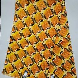 Coupon de tissu - Wax - Graphiques - Pailleté - Jaune / Orange / Noir