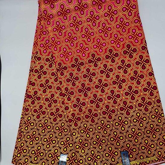 Coupon de tissu - Wax - Graphiques - Pailleté - Rose / Rouge / Bordeaux