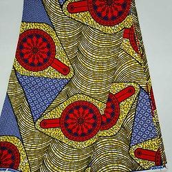 Coupon de tissu - Wax - Cocardes - Rouge / Jaune / Bleu