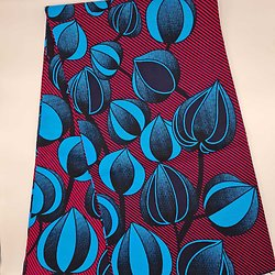 Pagne - Wax - Fleurs - Rouge / Bleu / Noir