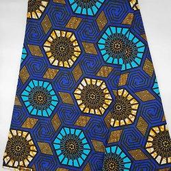 Coupon de tissu - Wax - Etoiles - Bleu / Jaune / Noir