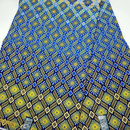 Coupon de tissu - Wax - Graphiques - Jaune / Bleu / Blanc