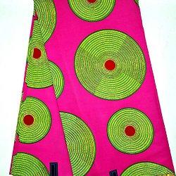Coupon de tissu - Wax - Disques - Jaune / Rose / Vert