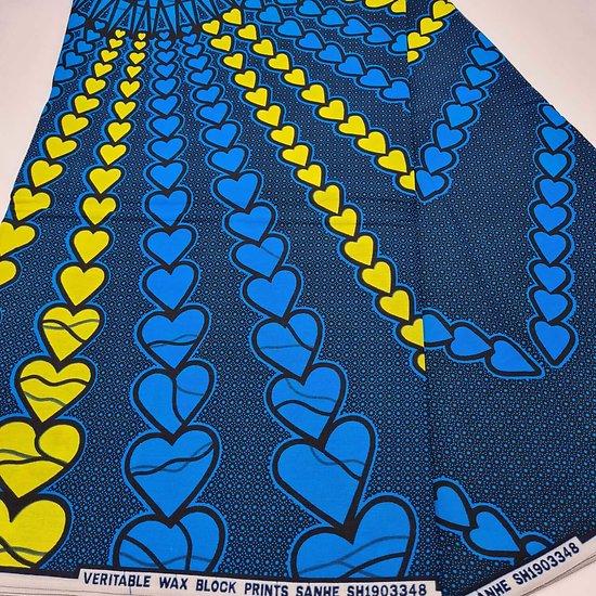Pagne - Wax - Cœurs - Jaune / Bleu / Noir