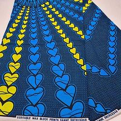 Coupon de tissu - Wax - Cœurs - Jaune / Bleu / Noir