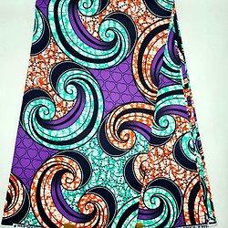 Coupon de tissu - Wax - Graphiques - Vert / Orange / Violet