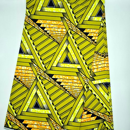Coupon de tissu - Wax - Graphiques - Vert / Orange / Jaune