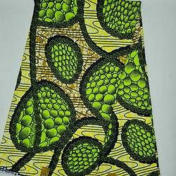 Coupon de tissu - Wax - Graphiques - Vert / Ocre / Jaune