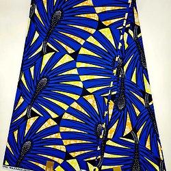 Coupon de tissu - Wax - Graphiques - Bleu / Orange / Jaune