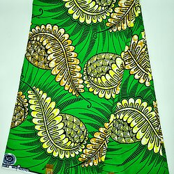 Coupon de tissu - Wax - Graphiques - Vert / Jaune / Ocre