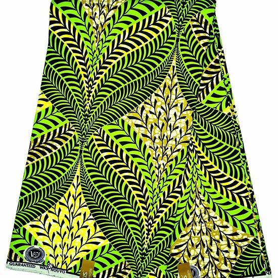 Coupon de tissu - Wax - Feuilles - Vert / Jaune / Noir