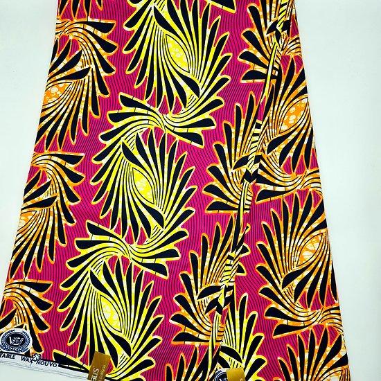 Coupon de tissu - Wax - Graphiques - Rose / Noir / Jaune