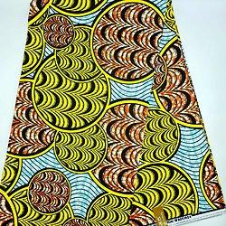 Coupon de tissu - Wax - Graphiques - Jaune / Orange / Noir